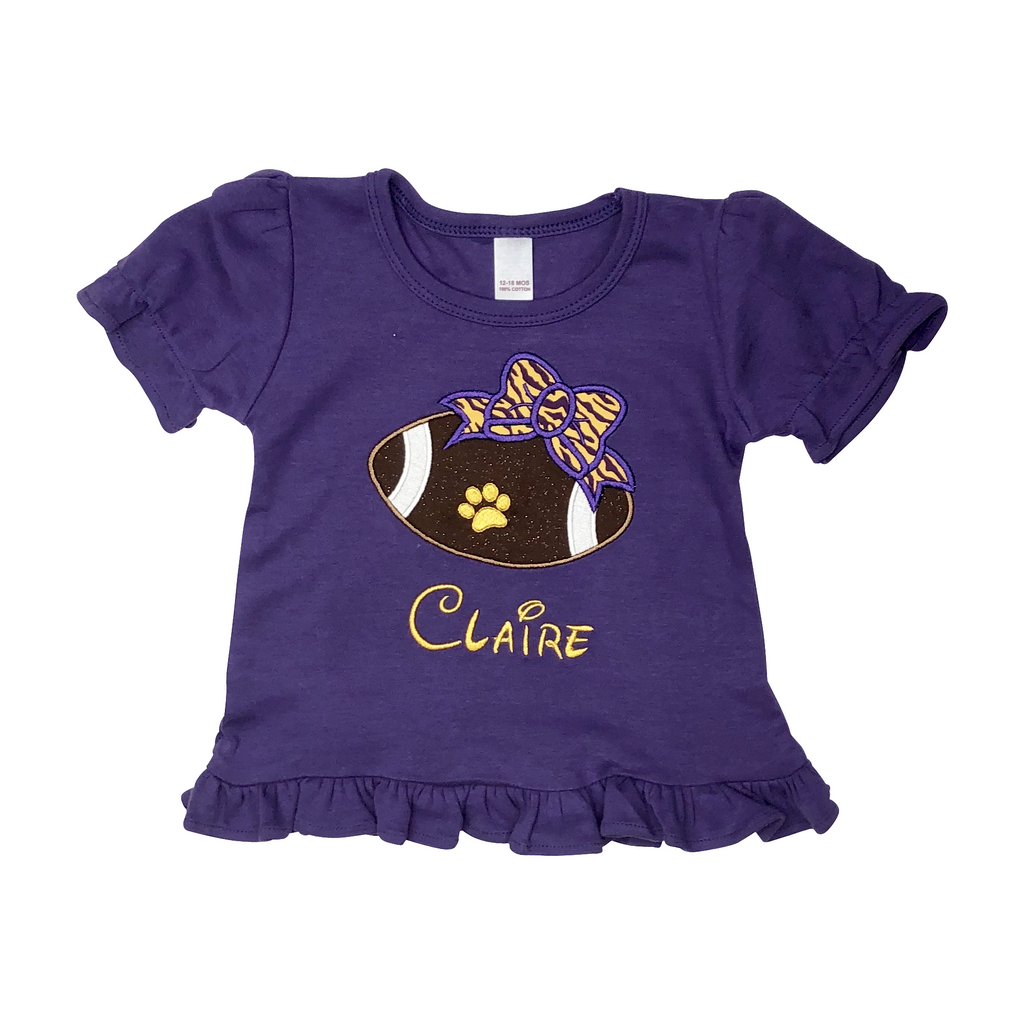 Sports - Girls Football with LSU Tiger Bow Applique Design and Personalized Name