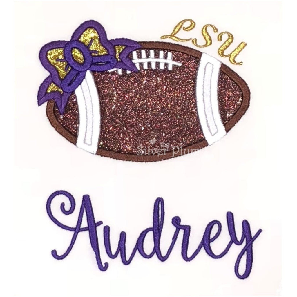 Sports - Girls LSU Football with Bow Applique Design and Personalized Name