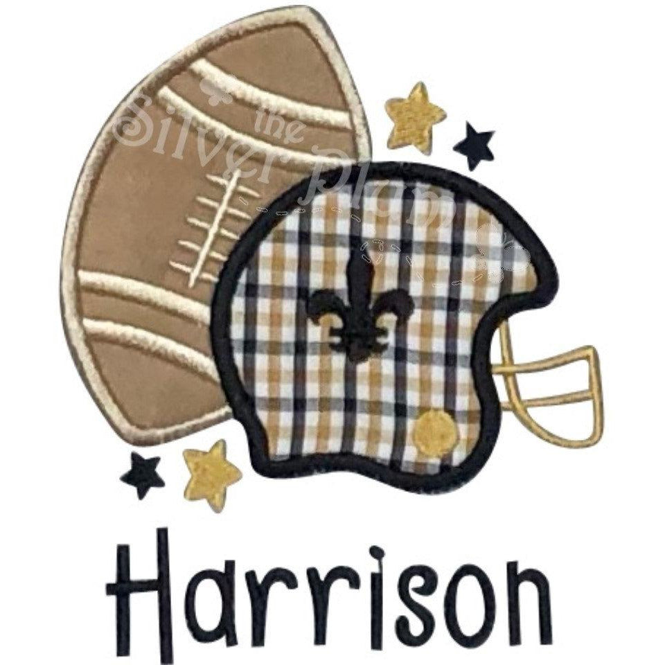 Sports - Football & Helmet Plaid , New Orleans Saints, FDL Applique Design and Personalized Name, Boys Black & Gold