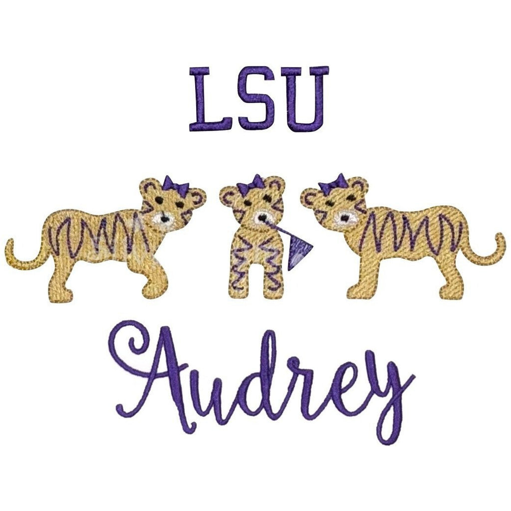 Sports - Tiger Trio Girls LSU with Bows & Flag Applique Design and Personalized Name