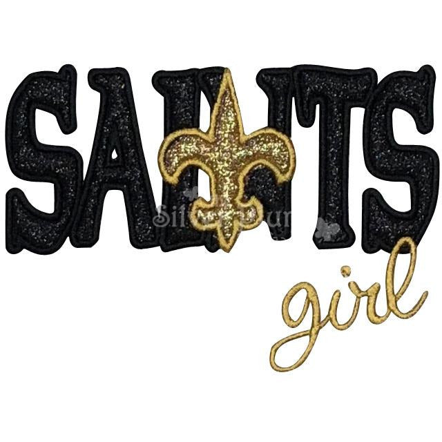 Sports - Saints Girl Letters & FDL, New Orleans Saints, Black & Gold Fleur d' Lis Applique Designs