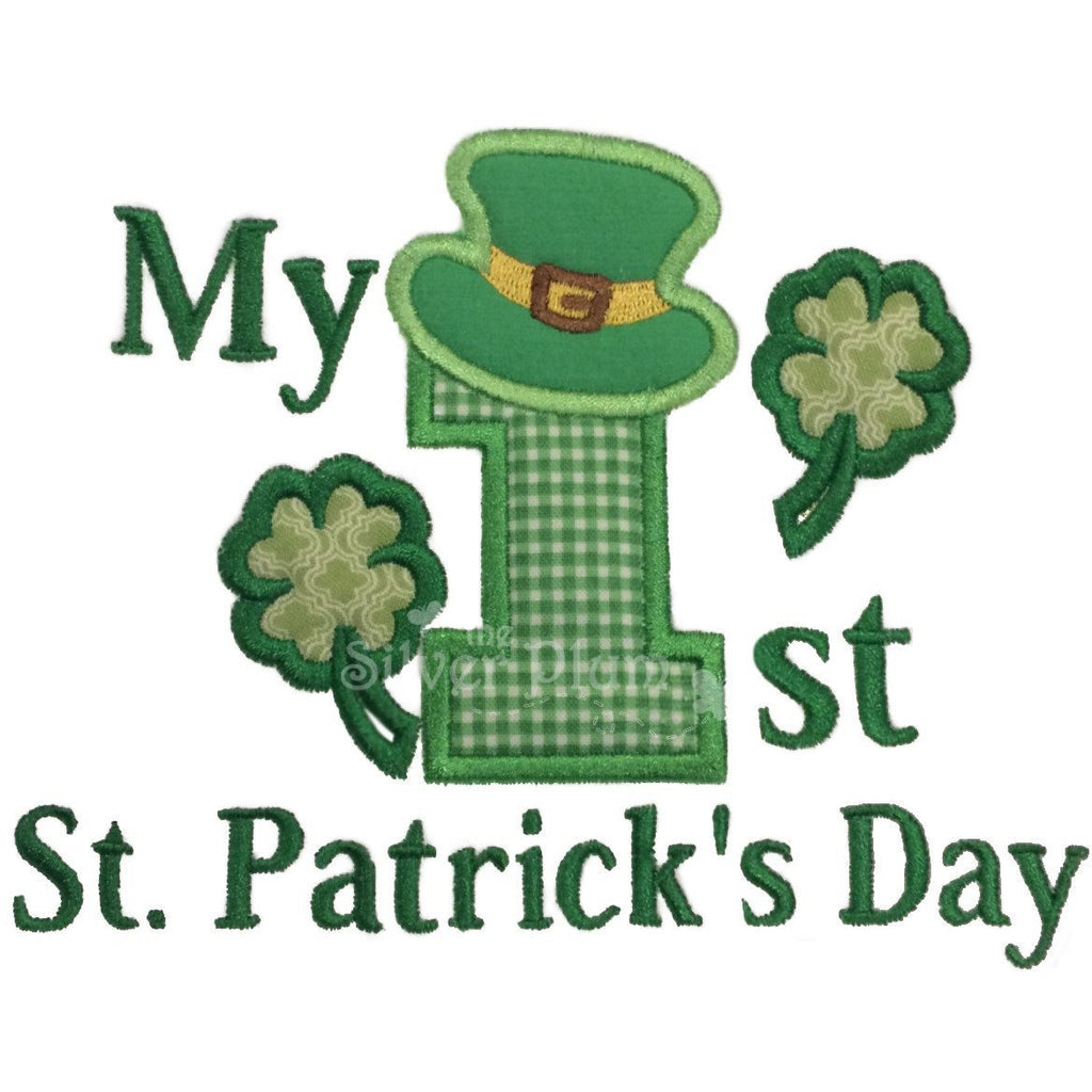 St. Patrick's Day - My 1st St. Patrick's Day, Number One, Green Clovers Applique Design