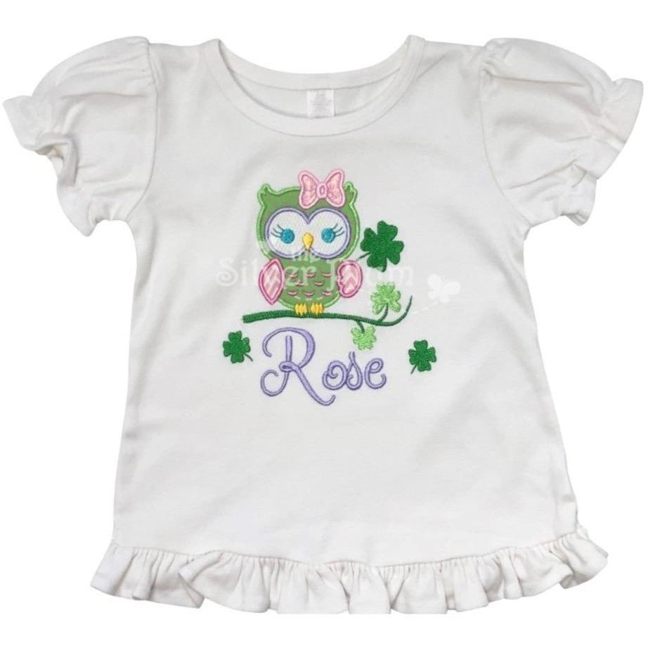 St. Patrick's Day - Girl Owl, Bow, Green Clovers Applique Design, Personalized Name