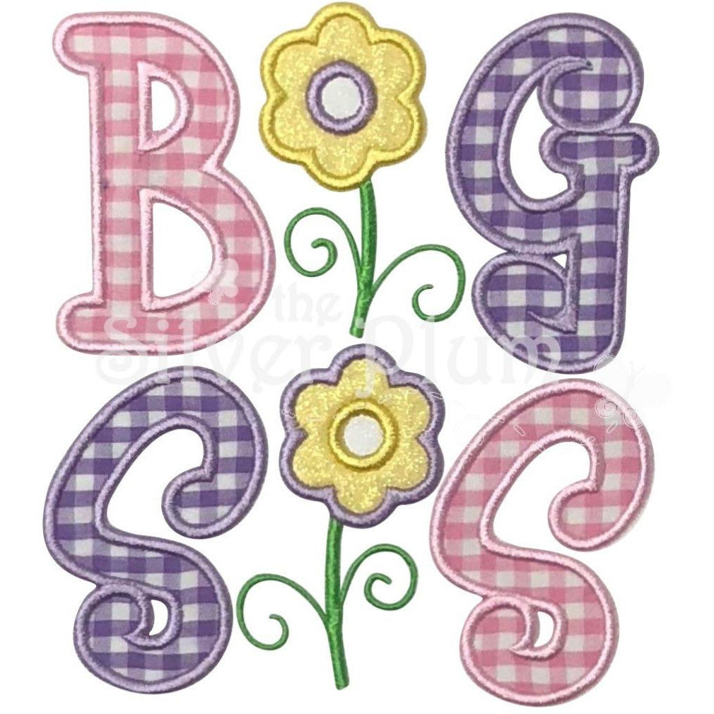 Sibling - Big Sis with Flowers Applique Designs, Big Sister