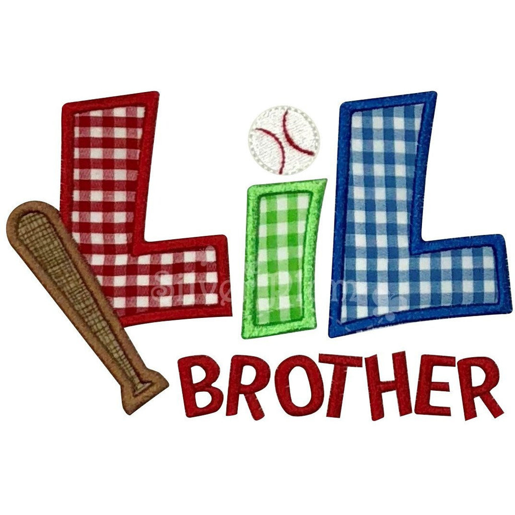 Sibling - Lil Brother Baseball & Bat Applique Design, Little Brother