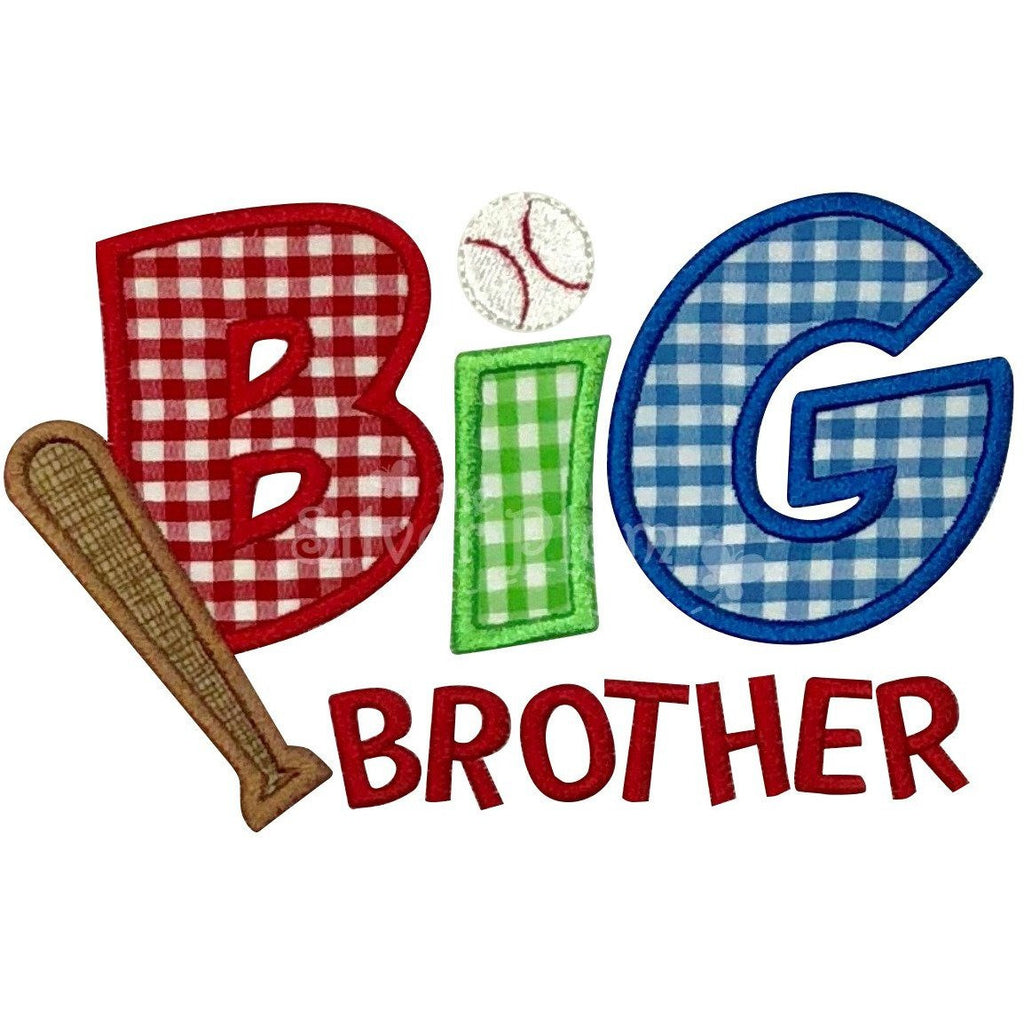Sibling - Big Brother Baseball & Bat Applique Design, Big Brother