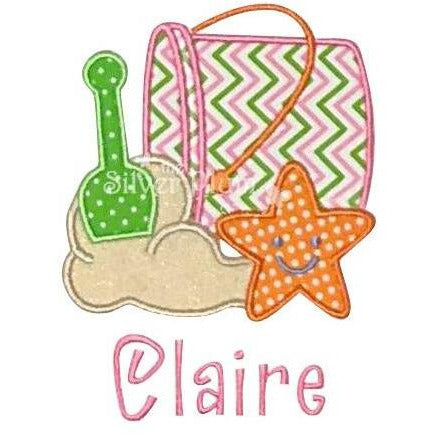 Summer - Beach Bucket, Sand, Shovel, Starfish Applique Design Girls, Personalized Name