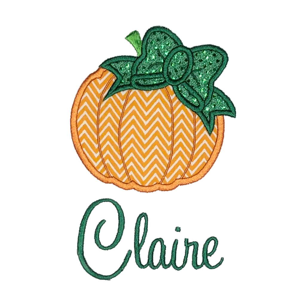 Thanksgiving, Fall Girls Pumpkin, Applique Design & Monogram, SELECT STYLE & FONT BELOW