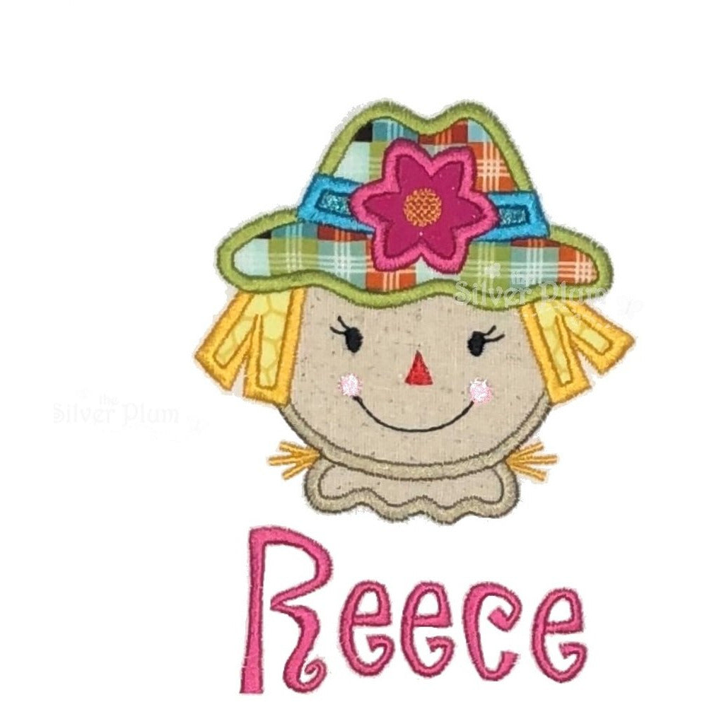 Thanksgiving, Fall - Scarecrow Girl Face Applique Design, Personalized Name
