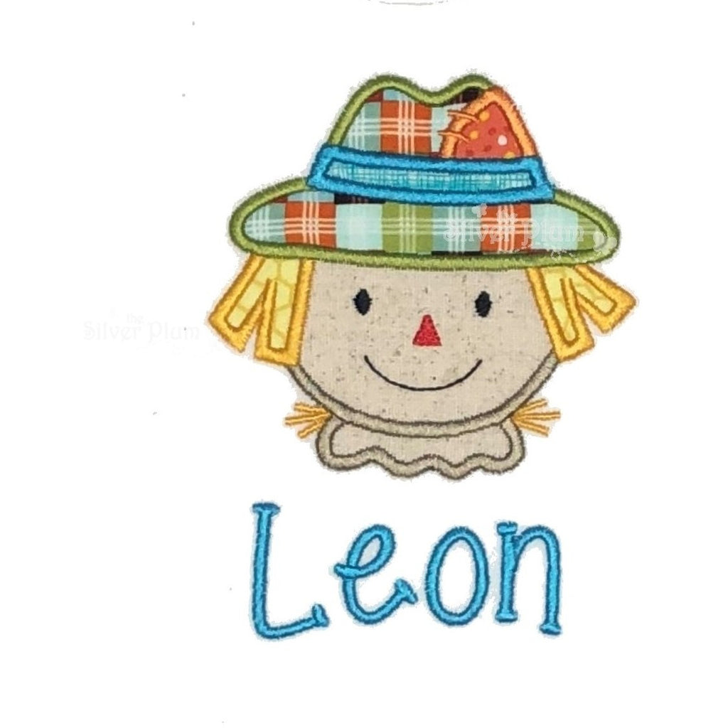 Thanksgiving, Fall - Scarecrow Boy Face Applique Design, Personalized Name