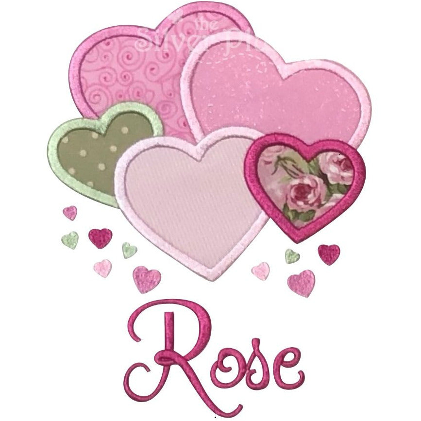 Valentine - Lots of Hearts,  Pink, Red and Fuschia Applique Design, Select Garment Style & Font