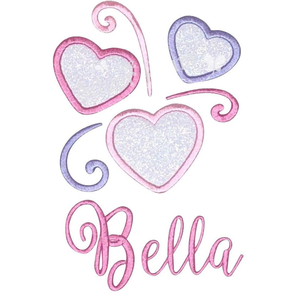 Valentine - Swirl Hearts, Hearts in Pink & Lavender Applique Design, Choose Garment Style