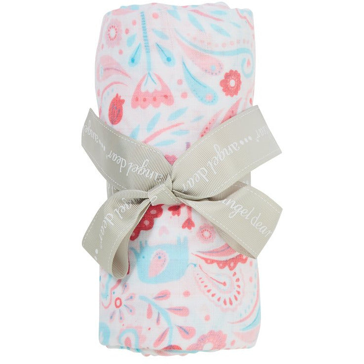 Angel Dear Swaddle Blanket Elephant Paisley