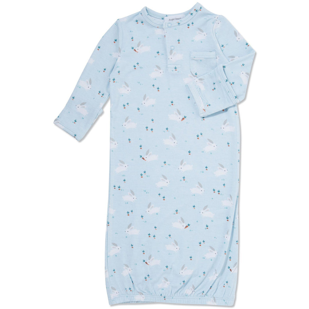 Angel Dear - Baby Bunnies Blue Gown & Hat Set