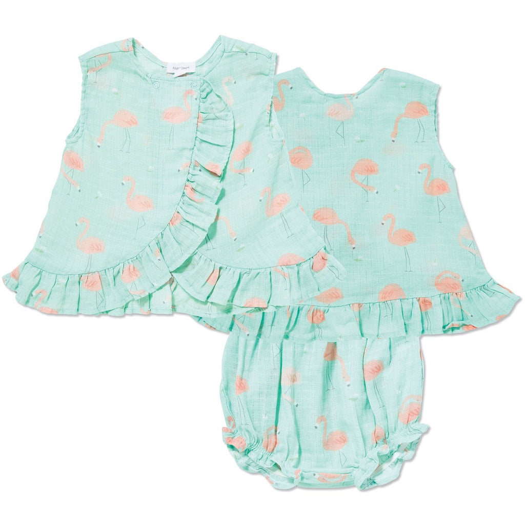 Angel Dear Muslin Ruffle Back & Bloomer Set, Flamingo