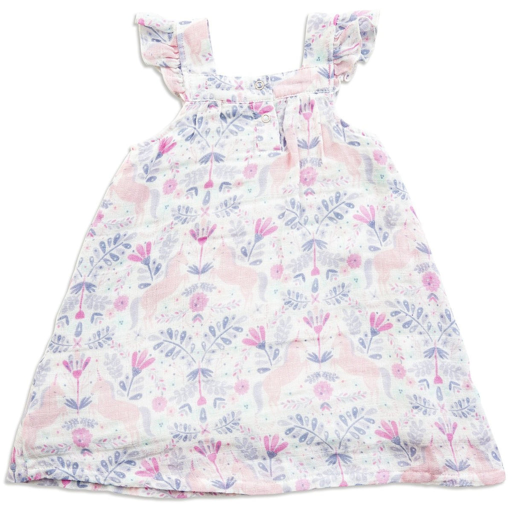 Angel Dear Muslin Sundress, Unicorn Damask