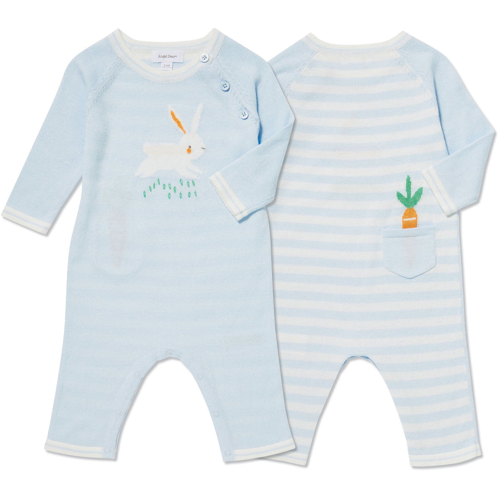 Angel Dear Bunny Intarsia Knit Blue Coverall