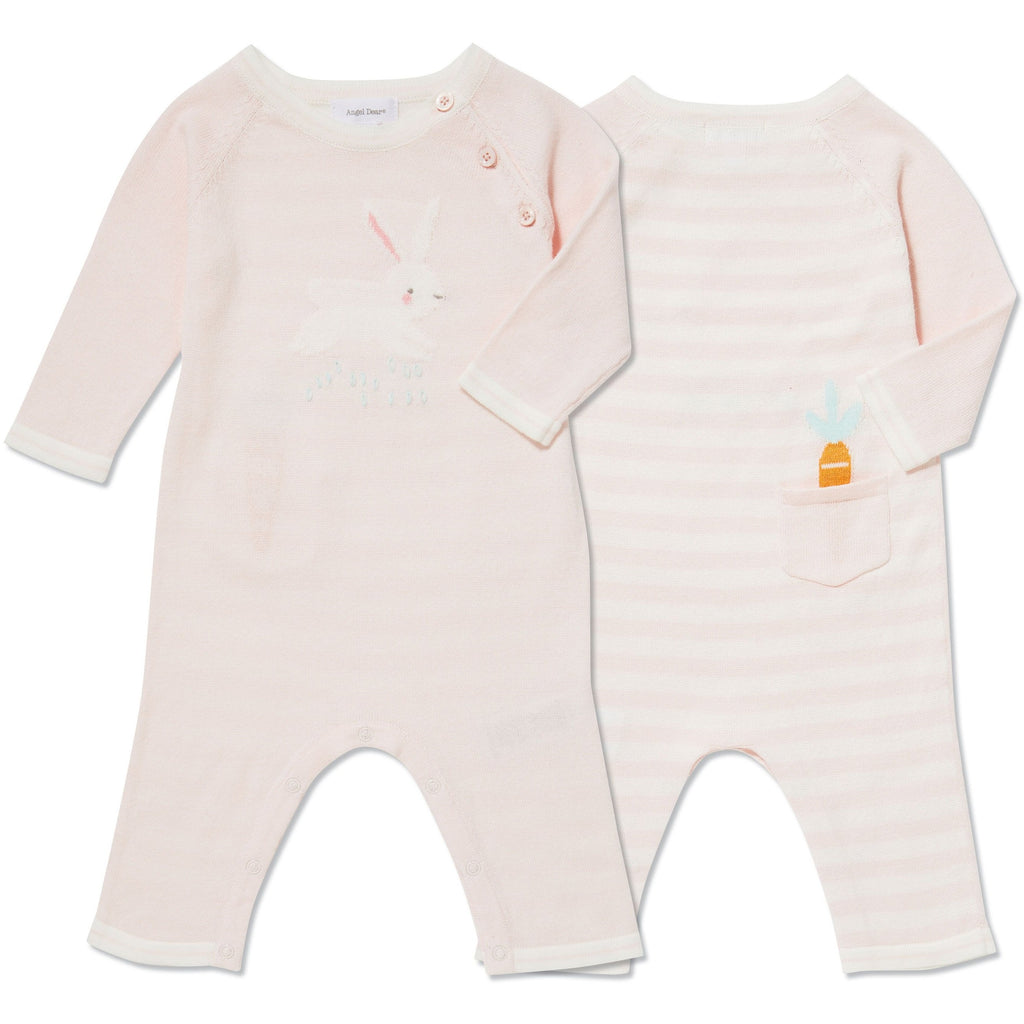 Angel Dear Bunny Intarsia Knit Pink Coverall