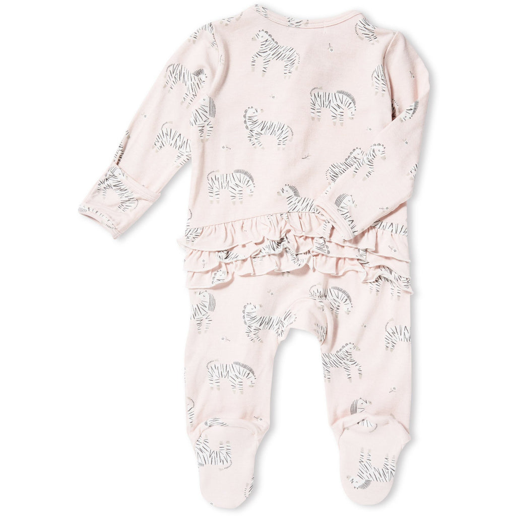 Angel Dear Infant Girls Zebra Print Footie