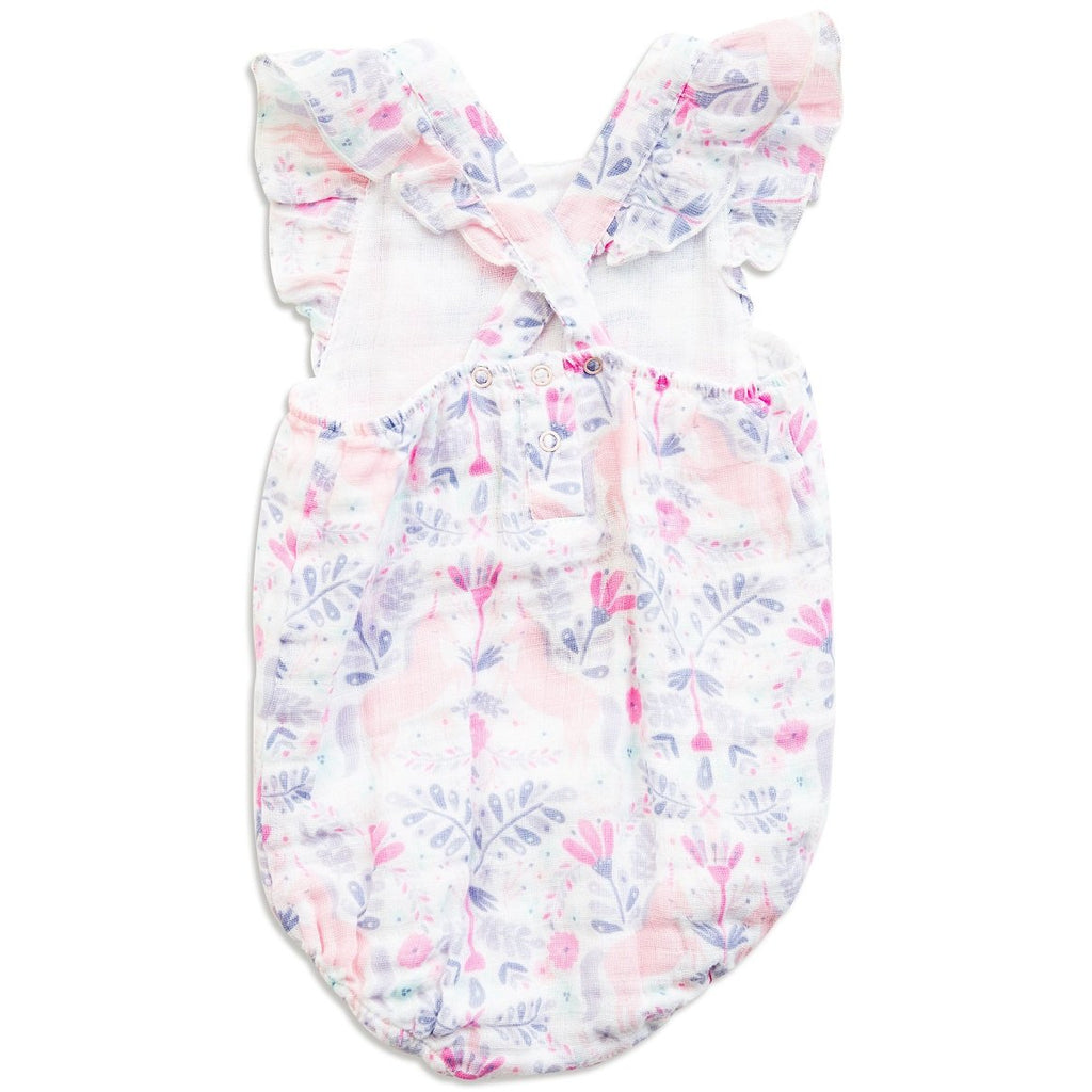 Angel Dear Muslin Girls Sunsuit, Unicorn Damask