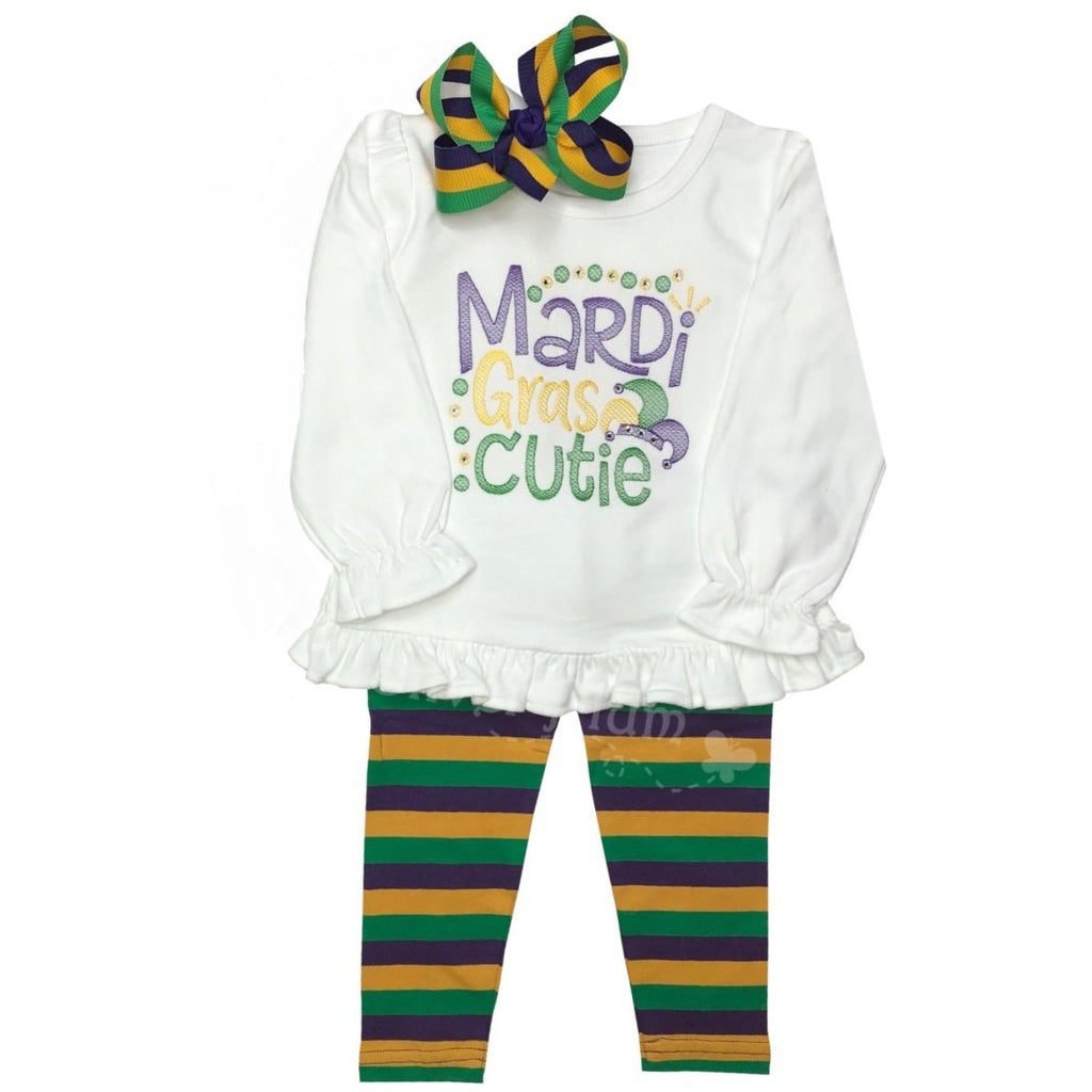 "Mardi Gras ""Mardi Gras Cutie"" Girls BLING Embroidery Design, Long or Short Sleeve Shirt"
