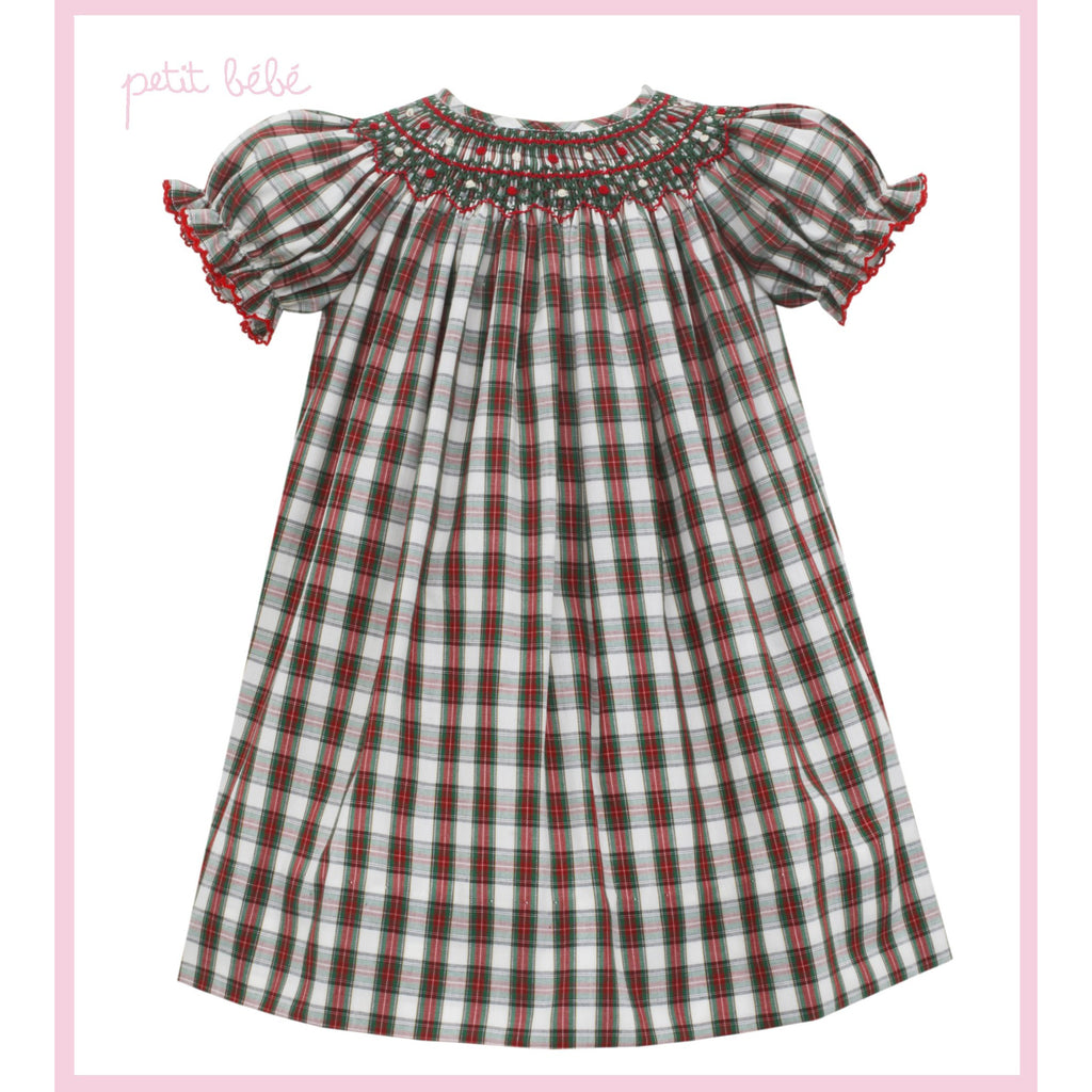 Petit Bebe - Ivory Plaid Ava Holiday Bishop