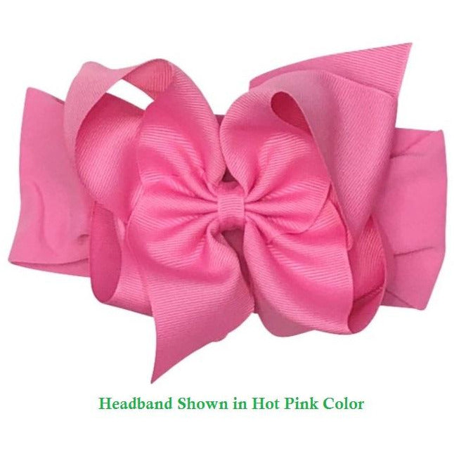 Pantyhose Wide Headband With Grosgrain Bow