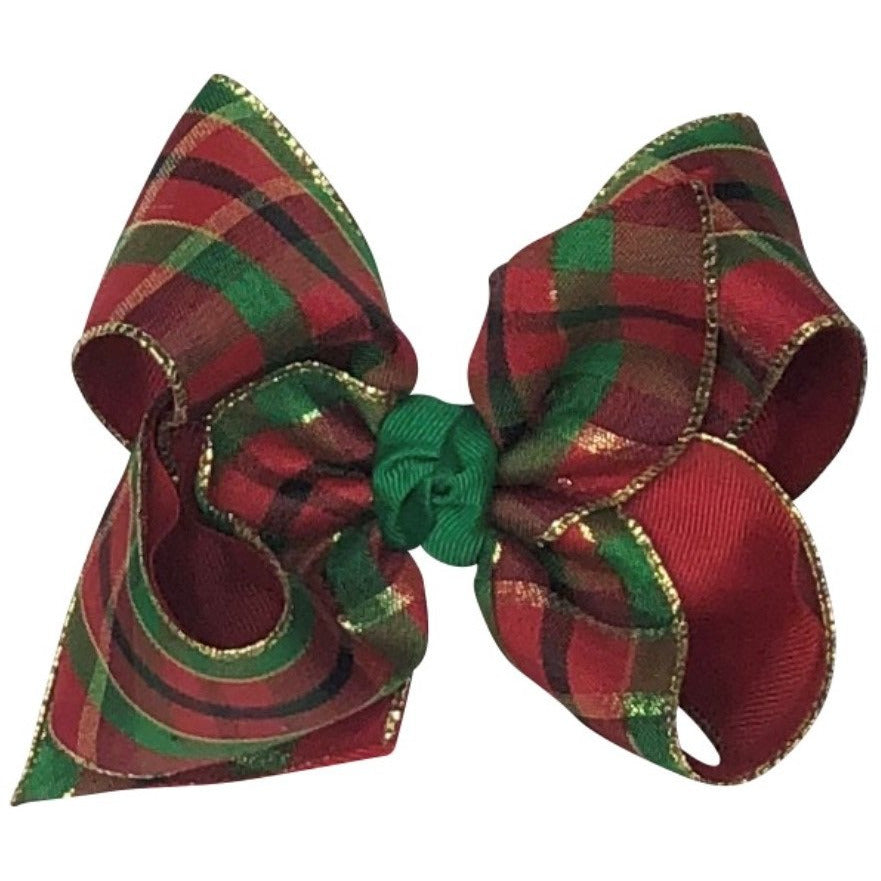 Girls Hair Bow - Christmas Plaid with Green, Red, Gold & Black
