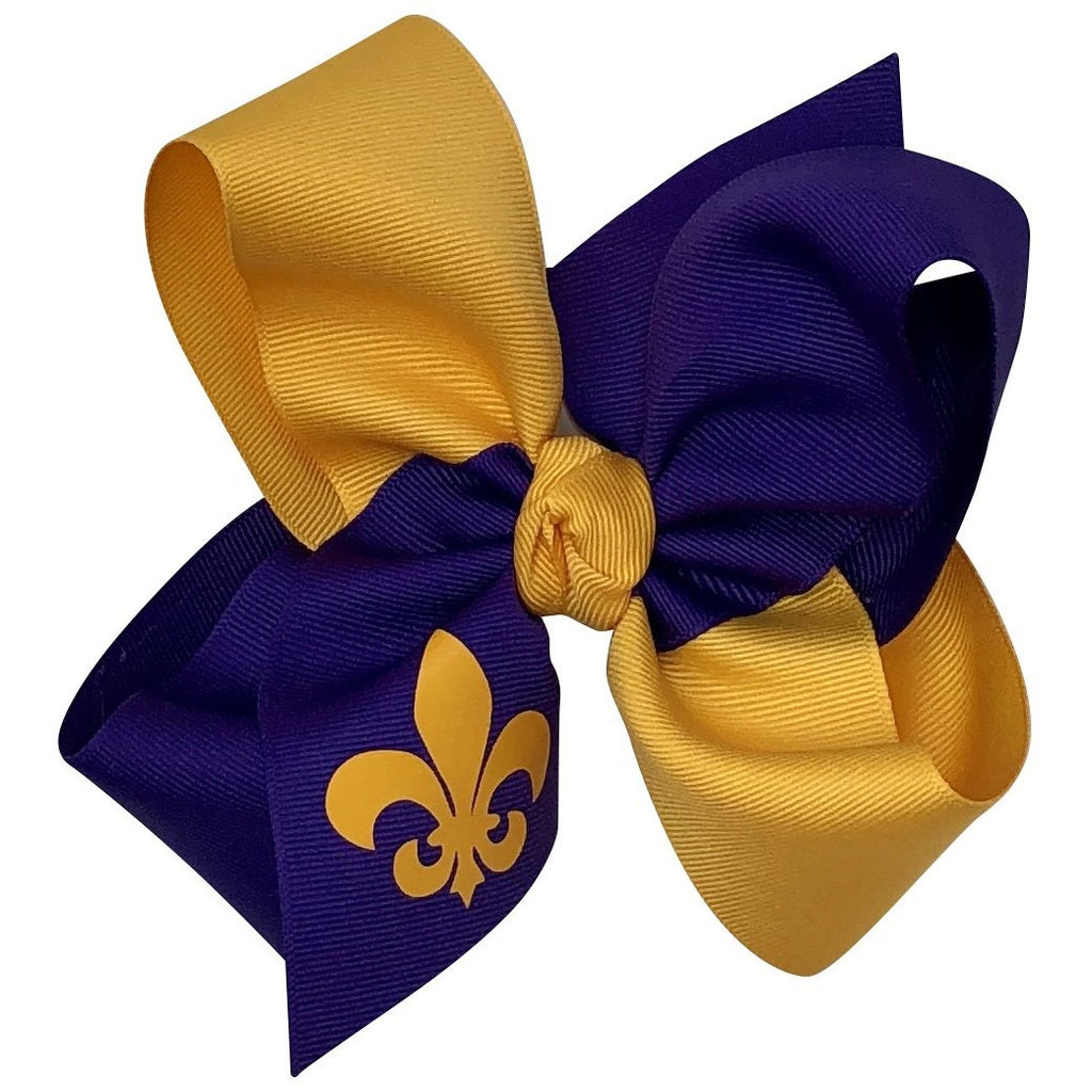 Girls Grosgrain Hair Bow - LSU Purple & Gold with FDL