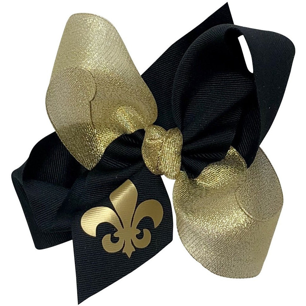Girls Grosgrain Hair Bow - Saints Black & Gold with FDL