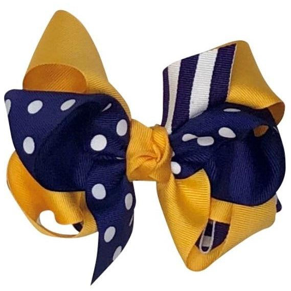 Girls Grosgrain Hairbow - LSU Purple & Gold Stripes & Dots