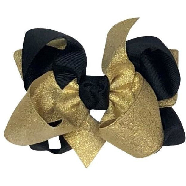 Girls Grosgrain Hairbow - Saints Black & Gold