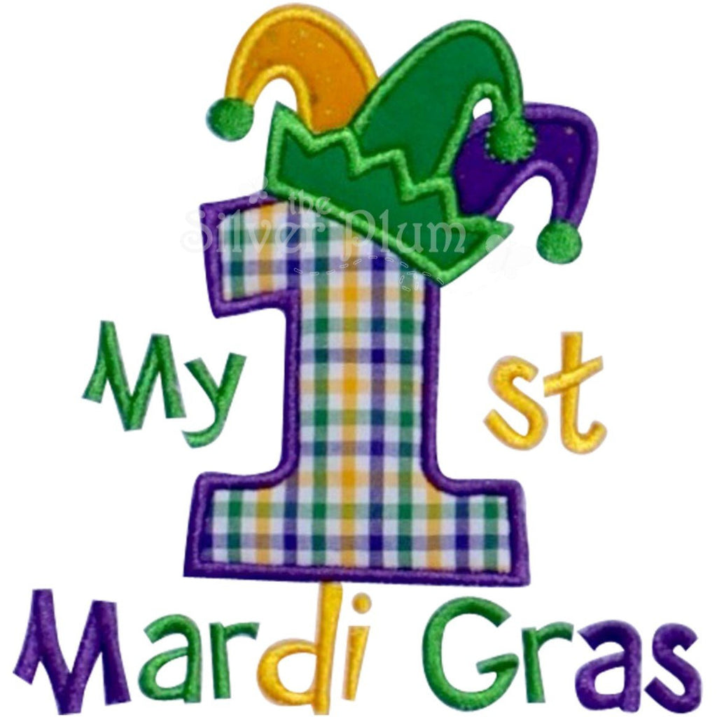 Mardi Gras - My 1st Mardi Gras with Jester Hat, Number One, Purple, Green & Gold Applique Design