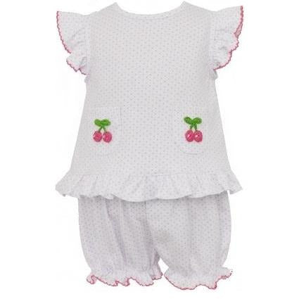 Petit Bebe Cherries Bloomer Set w/Ruffles