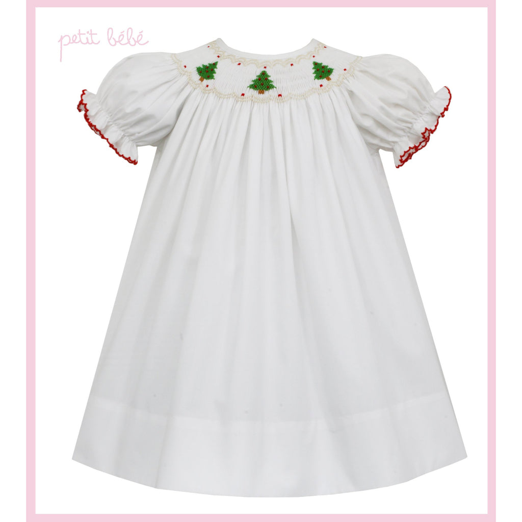 Petit Bebe - Christmas Trees Smocked White Bishop