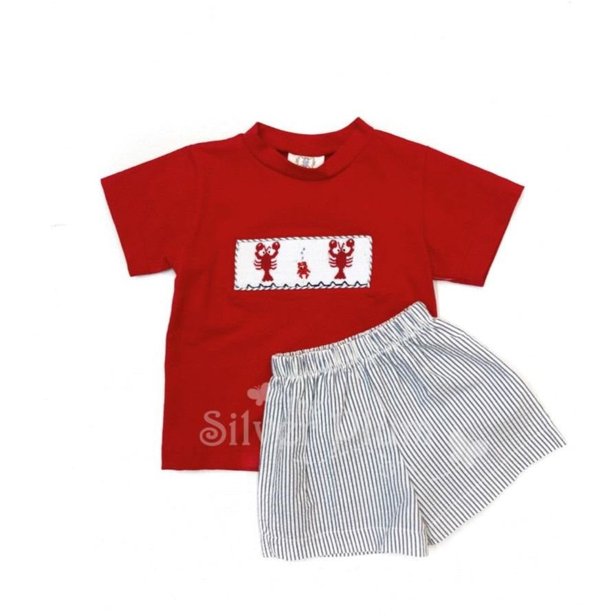 Red Crawfish Smocked Boys Shorts Set - Navy & White Seersucker Shorts, Red Crew Neck Tee