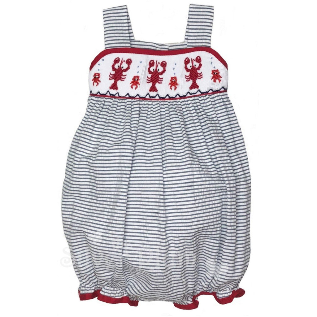 Red Crawfish Smocked Girls Bubble - Navy & White Seersucker