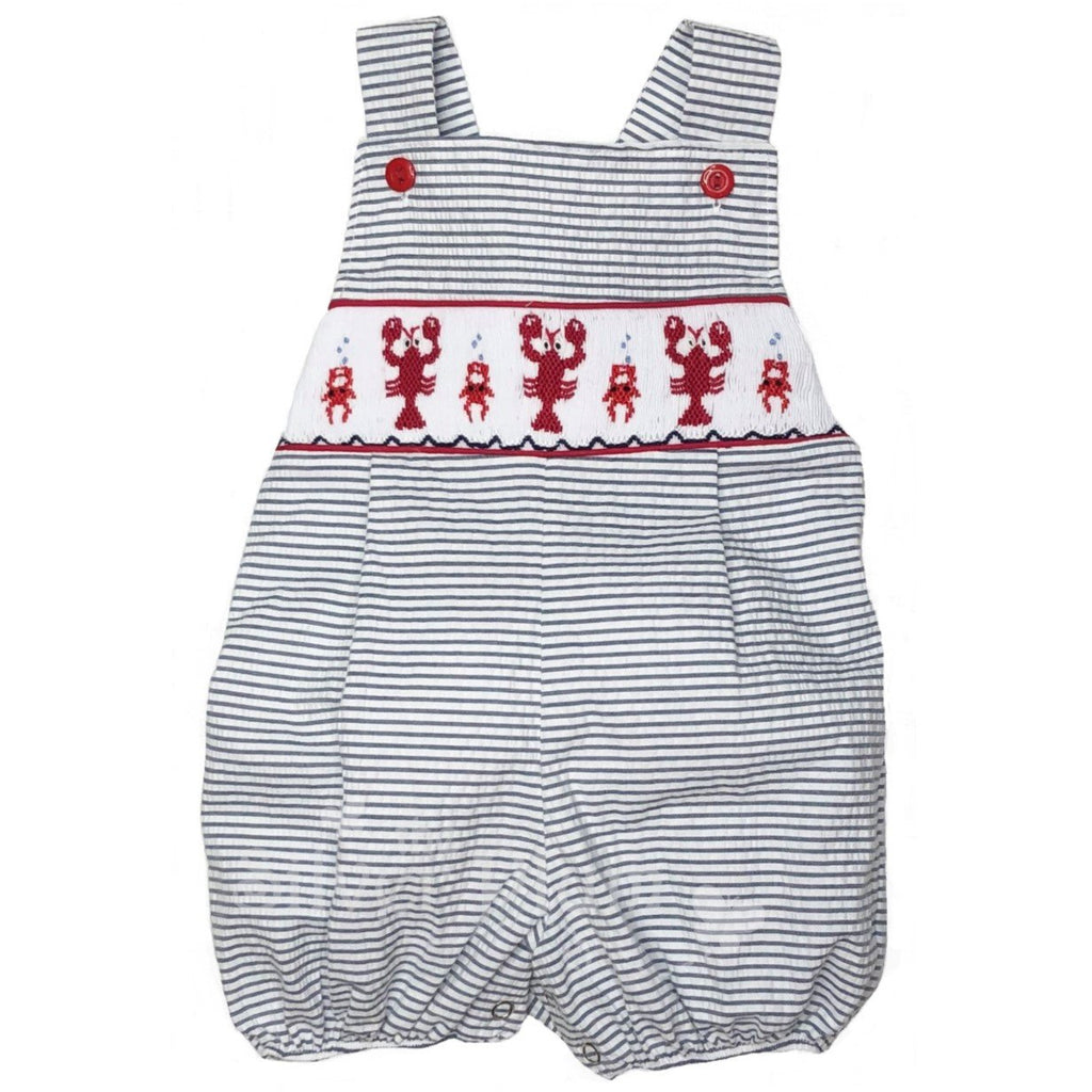 Lulu Bebe Red Crawfish Smocked Boys Bubble - Navy & White Stripe Seersucker