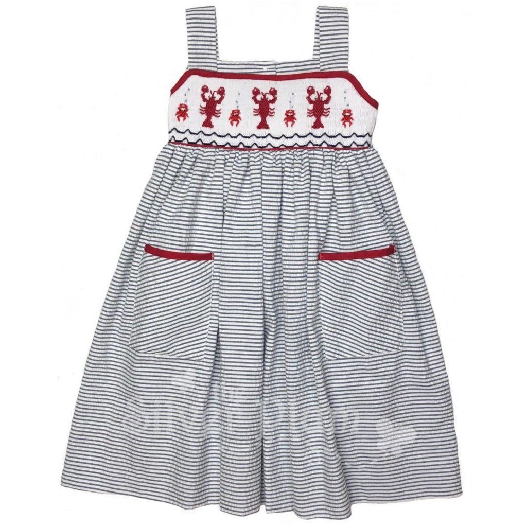 Red Crawfish Smocked on Girls Strap Dress - Navy & White Seersucker