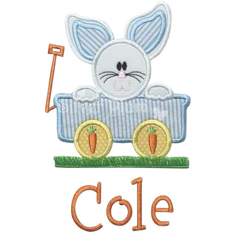 Easter - Bunny in Wagon Applique Design, Select Garment Style
