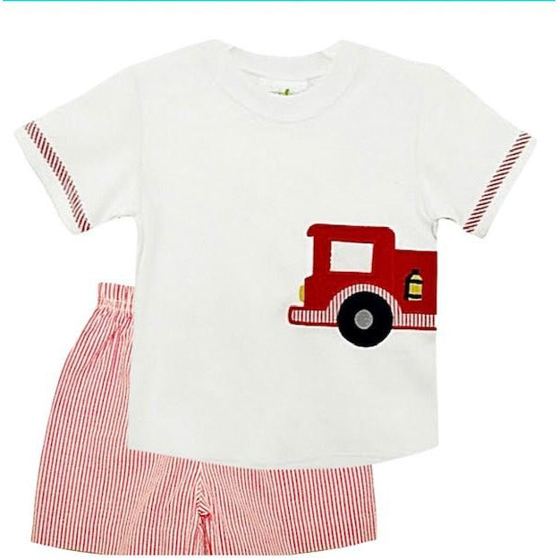 Zuccini Firetruck Applique Boys Short Set - Red Seersucker Stripe