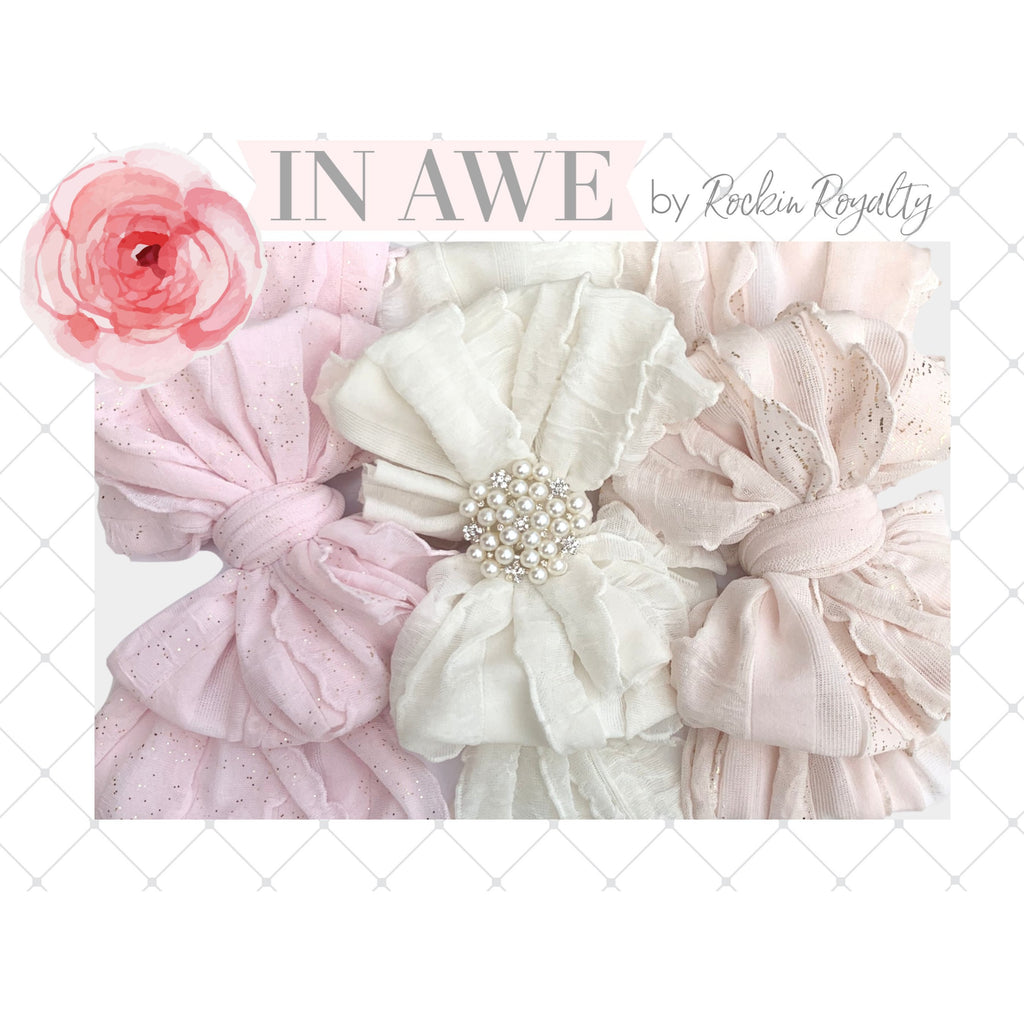 In Awe - Ruffled Headband Gift Set of 3 - Pretty in Pearls