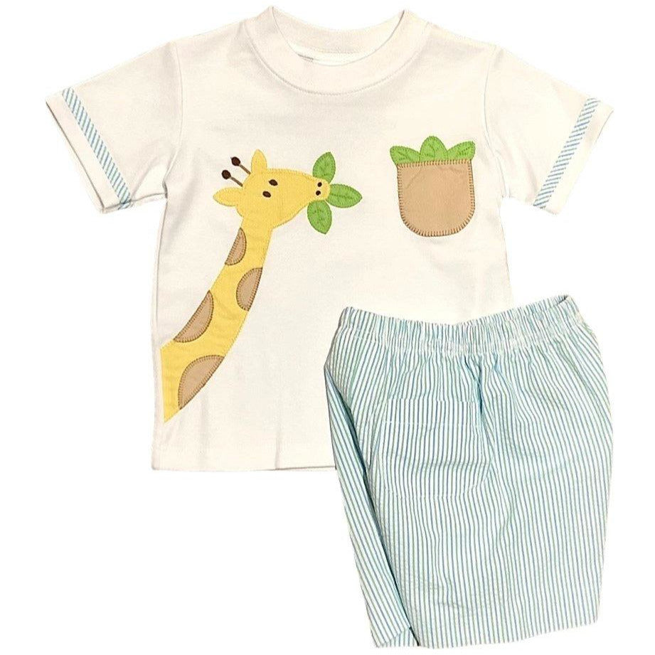 Zuccini Giraffe Boys Short Set - Mint Seersucker Stripe