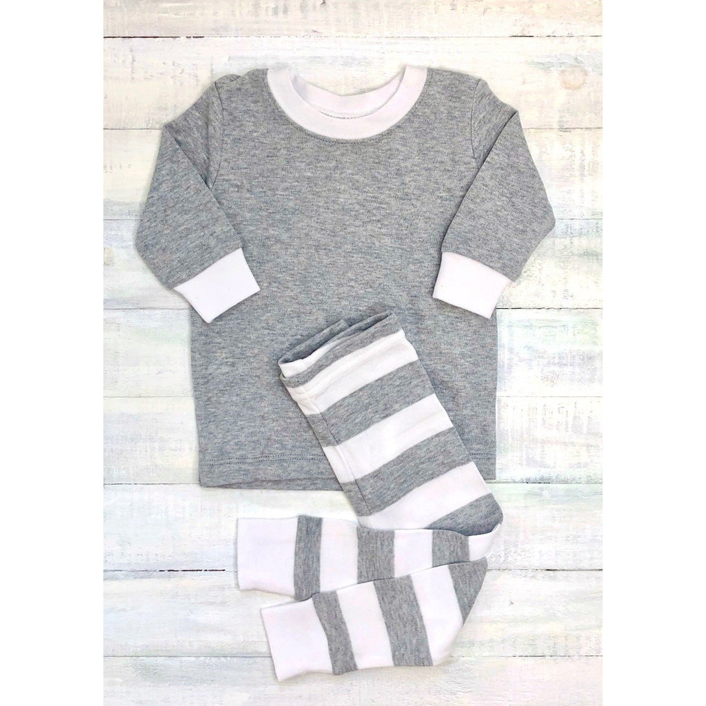 Grey & White Stripe Pajamas, Monogram Name or Initials Included,