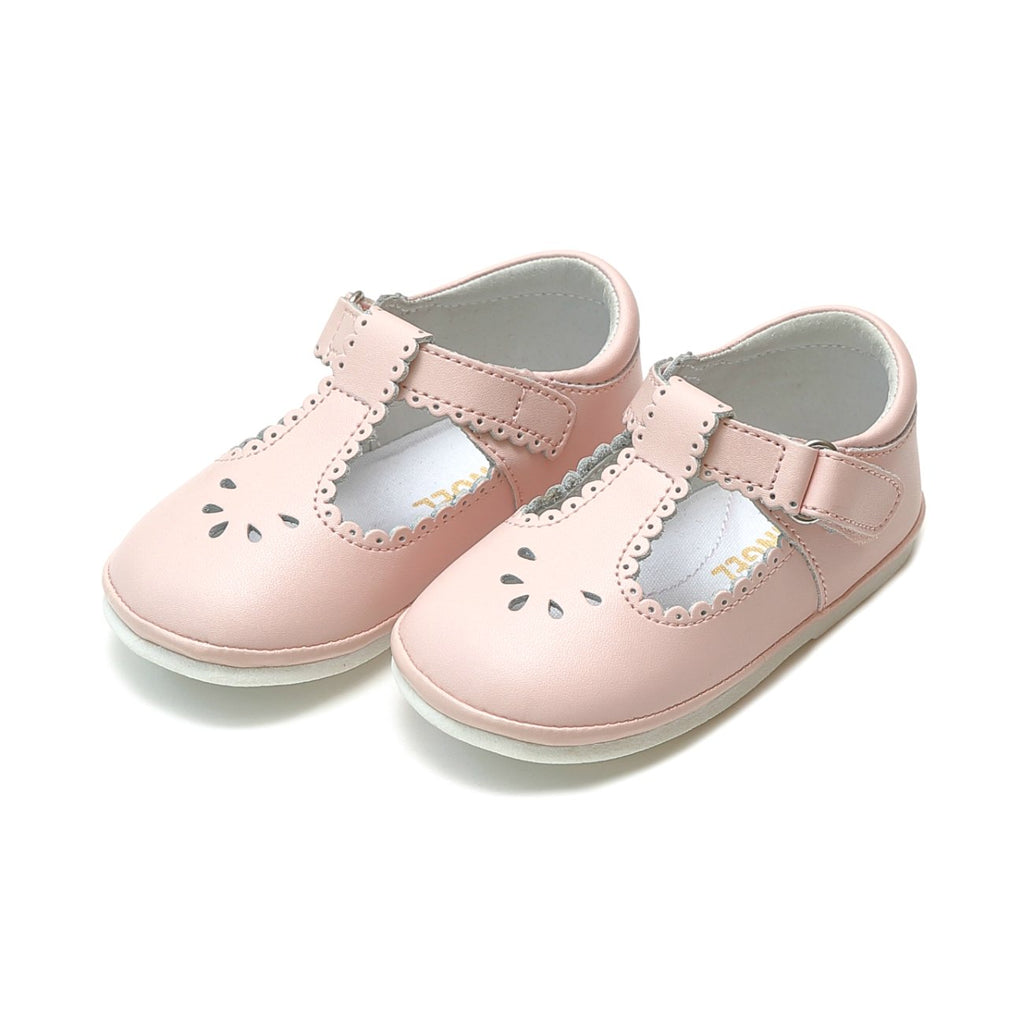 L'Amour - Dottie Pink Scalloped T-Strap