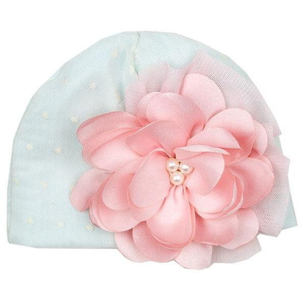 Haute Baby - Fairy Frost Infant Cap, Light Blue with Lace, Pink & Cream Embellished Flower