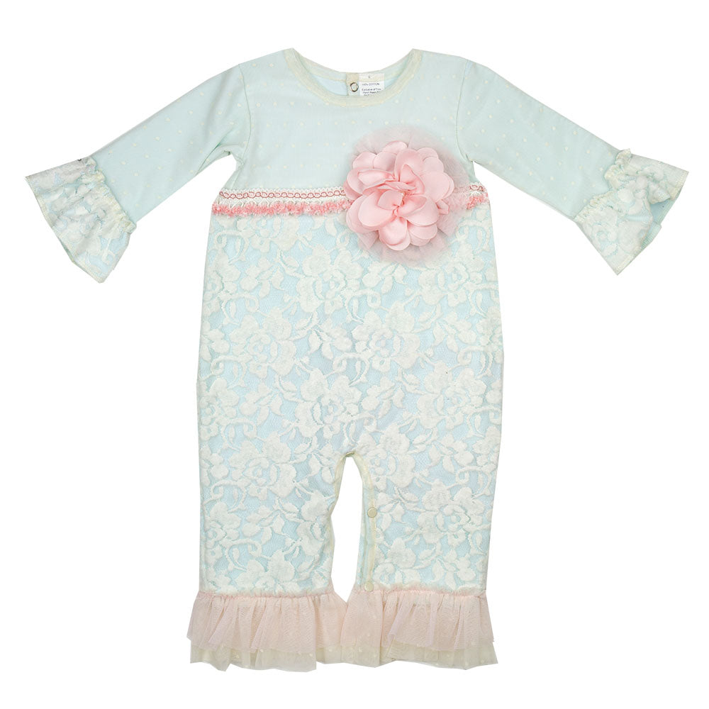 Haute Baby - Fairy Frost Girls Romper / Coverall, Light Blue with Soft Cream Antique Lace