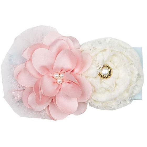 Haute Baby - Fairy Frost Headband, Pink & Cream Embellished Flower