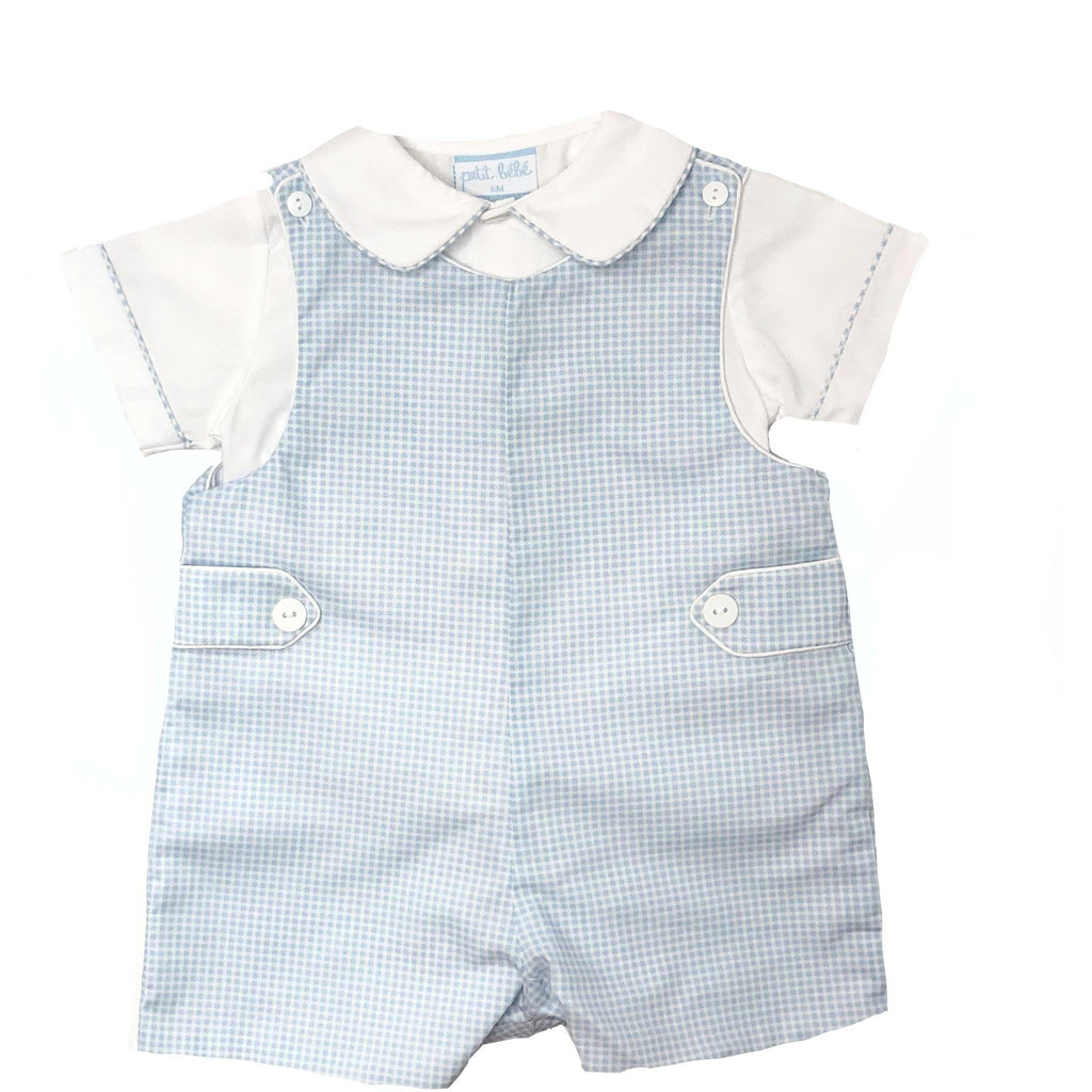 Petit Bebe Boys Light Blue Check Jon Jon Set - Monogram Available
