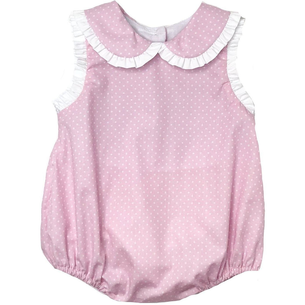 Petit Bebe Girls Pink Swiss Dot Bubble - Monogram Available